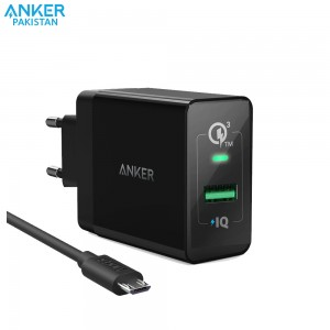 Anker PowerPort+ 1 Quick Charge 3.0 with Micro USB Cable-BLACK