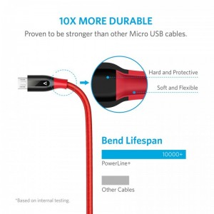 Anker PowerLine+ 6ft Micro USB Cable-Red