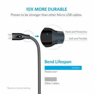 Anker PowerLine+ 6ft Micro USB Cable-Gray