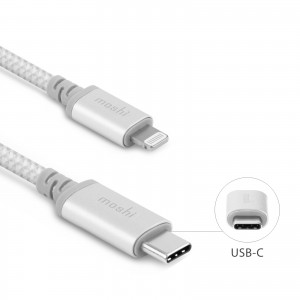MOSHI Integra USB-C charge/sync cable with Lightning connector 1.2M - Jet Silver